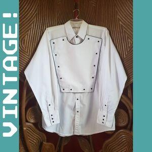 Vintage Cowboy Western Shirt Bib Snap Front